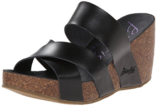 Blowfish Womens Hiro Wedge Sandal       Black Dyecut PU       6 M US