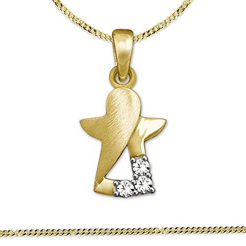 clever-schmuck-jewellery-set-golden-pendant-mini-angel-interior-cut-out-matte-and-glossy-with-3-styl