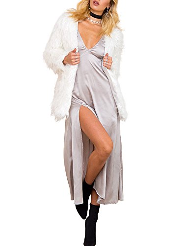 Simplee Apparel Damen Winter Warme Flaumig Luxuriös Kunstfell Dick Fell  Mantel Weiß Beige Schwarz Weiß ... 37b67824af