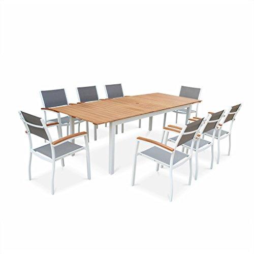 Alice's Garden - Salon de Jardin en Bois et Aluminium Extensible - Sevilla - Grande Table 200/250cm avec rallonge, 8 fauteuils, en Aluminium, Bois d'Eucalyptus FSC huilé et textilène Gris Taupe