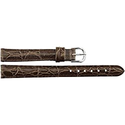 Watch Strap in Dark Brown Leather - 12mm - Alligator grain - buckle in Silver stainless steel - B12BroAli2S