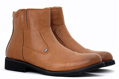 Pour homme Cheville Biker Bottes Mode Armée Combat Chaussures Décontracté Chic Fermeture éclair taille Marron