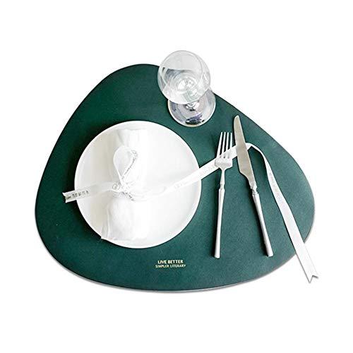 Jannyshop 4 STÜCKE Leder Tischsets Set Haushalt Dreieck Oval wasserdichte Ölisolierung Pad Schüssel Matte Coaster 2 Tischset + 2 Coaster -