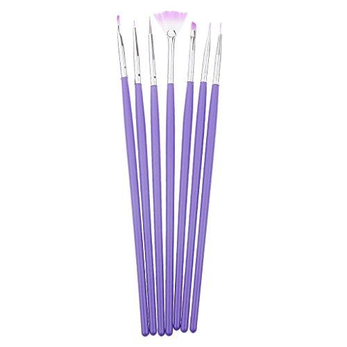 MagiDeal Nail Art Pinsel Set, 7 tlg./set Nagelkunst Pinsel / Stifte für zu Hause Make-up oder Nagelstudio Maniküre Werkzeug (Winkel Fächerpinsel)