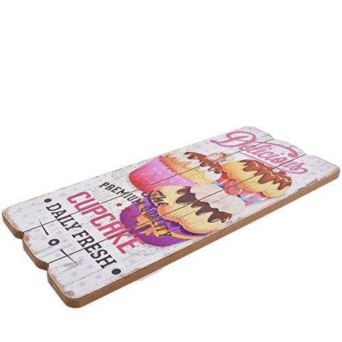 Dadeldo Living & Lifestyle Holzschild Delicious Cupcake Design MDF 34x15cm bunt Wand-Bild Deko - 2