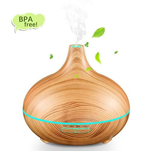 Mpow Aroma Diffuser, 300ml Aroma Diffuser Luftbefeuchter Ultraschall Vernebler und Duft Öl Verteiler mit 30ml/h Feuchtigkeitsabgabe mit 7 Farbigen LED für Bad, Yoga, Zuhause, Babyzimmer, Büro, usw.