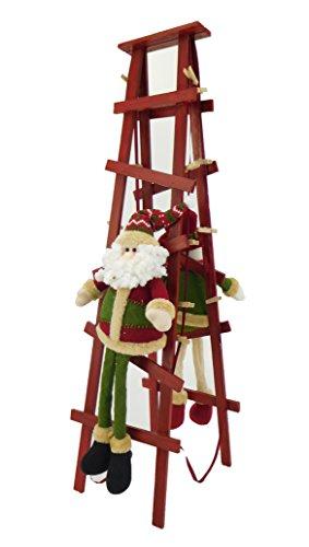 Christmas concepts® 80cm in piedi di natale di carta babbo natale e pupazzo di neve arrampicata scaletta con pioli di legno