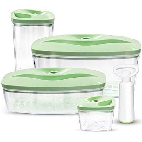 Set 4 dafi contenitori sottovuoto per alimenti con pompa | 0.5l, 1.3l, 1.5l, 2.7l | colore: acquamarina