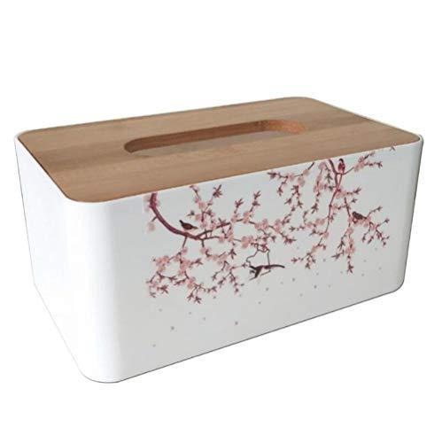 shshuiyue Rechteckige Mode Tissue Box Holzabdeckung Kunststoff Serviettenhalter Vogel Zweig Muster Papier Handtuchhalter Haushalt Auto Badezimmer Tissue Box - Serviettenhalter Vögel
