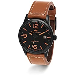 Yonger & Bresson X-Trem Men's Automatic Watch with Black Dial Analogue Display and Leather Brown - YBH 8351-17