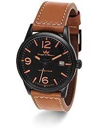 Yonger & Bresson  - Reloj automático para hombre, correa de cuero color marrón