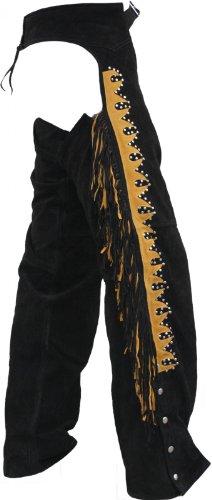 Chaps Fransenhose Reiter Cowboy Indianer Western Lederchaps Lederhose Schwarz, Größe:60