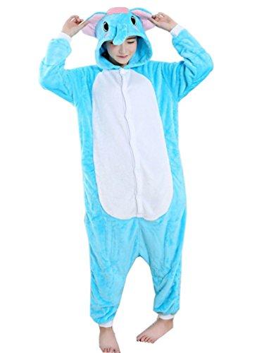 Elephant Damen Kostüm (LazLake Jumpsuit Tier Fasching pyjama Kostüm Onesie Overall Schlafanzug Erwachsene Unisex Kigurumi Elephant S)