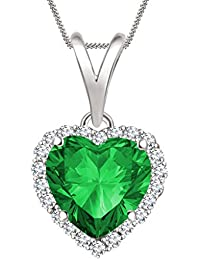 "Silvernshine 7mm Emerald & Sim Diamond Halo Heart Pendant 18"" Chain In 14K White Gold Fn"