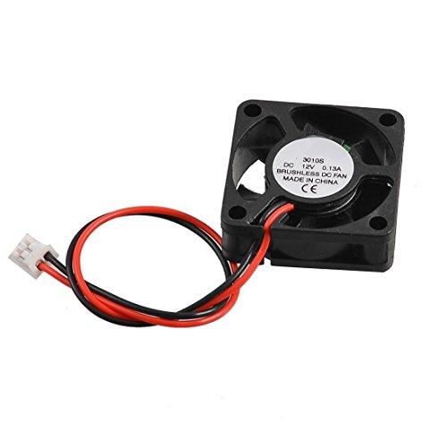 Sungpunet Kunststoff-Multifan, 2-polig, 30 x 30 x 10 mm 3010S 12 V 0,13 A, bürstenloser Mini-Gleichstrom-Kühlventilator, Schwarz - Fan-polig
