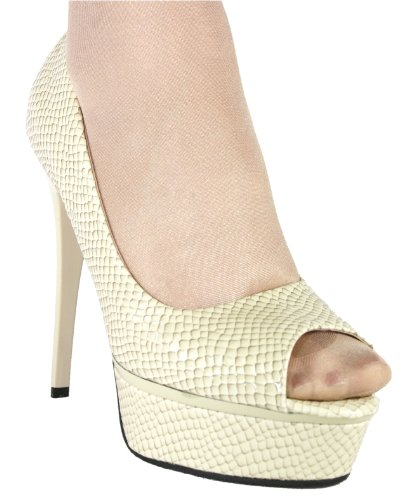 Plateau High Pumps Peeptoe Heel Beige Damen 10308 Btw166x