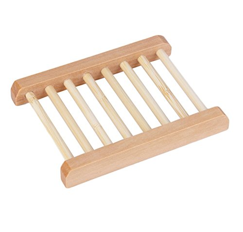 Lumanuby Generic Wooden Bamboo Soap Box Natural Wood Soap Dish Wooden Soap Dishes Soap Holder Rack Water Draining Design 11.7x9x1.7cm -1PCS