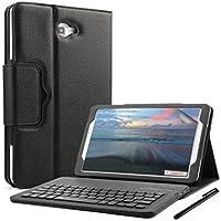 Samsung Galaxy Tab A 10.1 Funda Teclado, KVAGO Funda con Teclado Inalámbrico Extraíble Bluetooth Botones ABS en Piel de PU Premium con Soporte Para Samsung Galaxy SM-T580 T581 Tablet Modelos negro