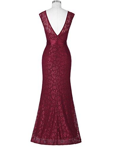 Yafex Damen Brautjungfern kleid Festliches Kleid Hochzeitsfeier ZY203 Weinrot