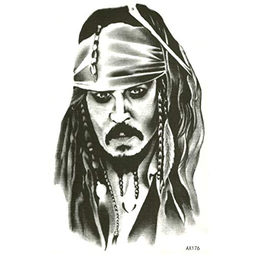 EROSPA® Tattoo-Bogen temporär - Captain Jack Sparrow - Fluch der Karibik (Halloween-make-up Sparrow Captain Jack)