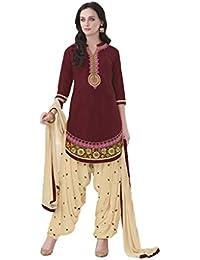 Lords Maroon Satin Cotton Unstitched Patiala Salwar Suit