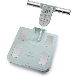 OMRON BF-511 Balance digitale haute précision, composition corporelle complète, indication du niveau de graisse corporelle, graisse viscérale, IMC, masse musculaire, métabolisme au repos, couleur bleu