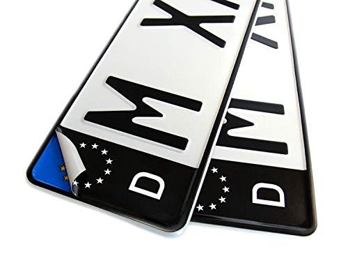 2x Kennzeichen Nummernschild schwarz Aufkleber Sticker EU-Feld SET inkl. 2x Reinigungstücher + Klebeanleitung