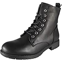 Womens Ankle Low Heel Army Combat Ladies Lace Up Zip Casual Fashion Boots Size 3-8