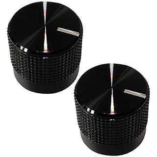 Aerzetix 2 Potentiometer Knöpfe für geriffelten Achse 6mm schwarz Ø15mm Aluminium und Kunststoff