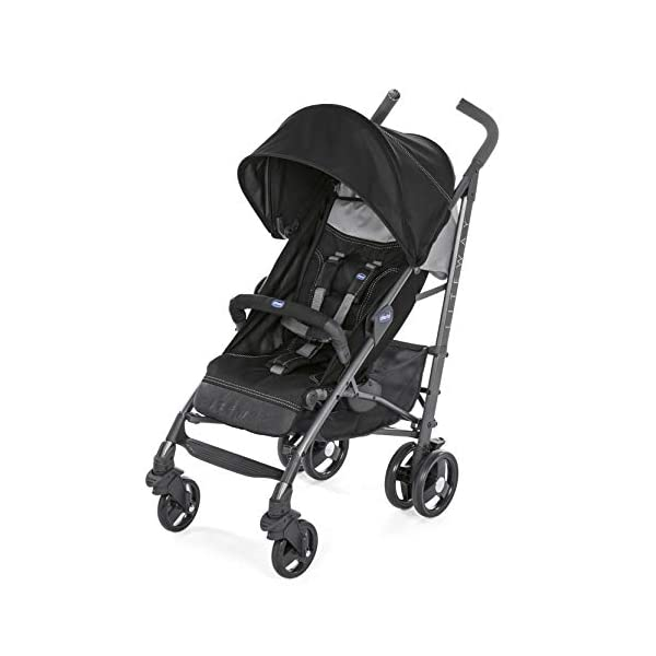Chicco New Liteway Stroller Jet Black Chicco Suitable from birth. Backrest declinable to 5 positions Complete with footmuff, extendable hood and rain cover. 1
