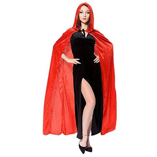 Rot Cape Kapuzen Kostüme Erwachsene (Zauberer Kap-Schal-Halloween-Party-Kapuzenumhang Mantel Wicca Robe Kapuzen-Umhang Cape)