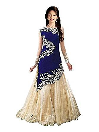 Dream Note Girl's Blue Velvet semi-stitched gown,dress,lehengha choli,salwar suit (Kids_Free Size_8-12 Year age)  available at amazon for Rs.491