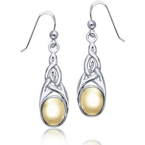 Bling Jewelry Two Tone Celtic Knot 925 Oro Vermeil Danu ciondola gli orecchini