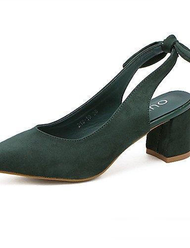 WSS 2016 Chaussures Femme-Habillé-Noir / Vert-Gros Talon-Talons / Bout Pointu-Talons-Laine synthétique green-us6 / eu36 / uk4 / cn36