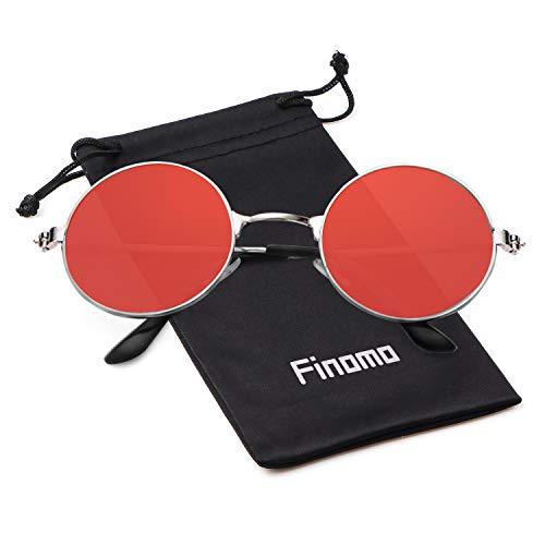 5b3d713903 Lunettes de soleil Finomo rondes avec monture en métal et verres Vintage  Circle UV400 pour hommes