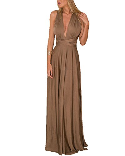 Robe Longue Femme Elégante Sans Manche Dos Nu Robe de Soirée Robe de Cocktail Marron