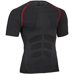 Bwiv Camiseta de Compresión Hombre Deporte Camiseta de Hombre Manga Corta Secado Rápido Elástico Transpirable Gimnasio Correr Baloncesto Aire Libre de Negro con línea Rojo Talla L