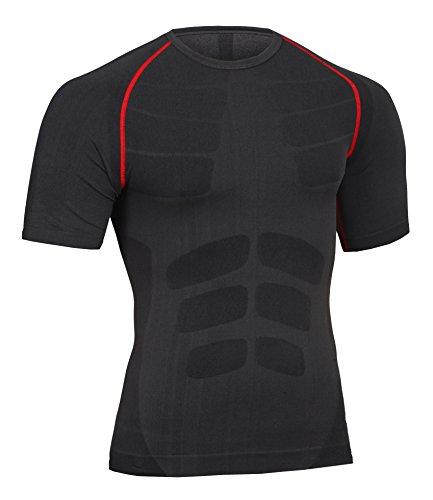 Bwiv maglietta compressione uomo manica corta leggera e attilata nero m
