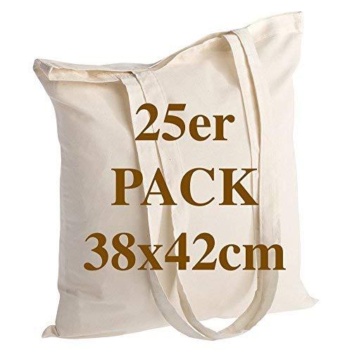 Qualität Baumwolltasche 25 Stück 145 g/m2 Größe 38x42 cm langen Henkeln 70 cm Natur 100% Baumwolle. Das beliebteste Modell. -