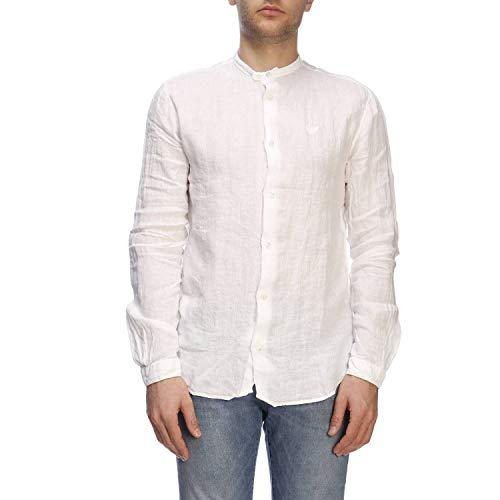 Armani Weiß Langarm (Emporio Armani Herren Freizeithemd Regular Fit Langarm Weiss (10) S)