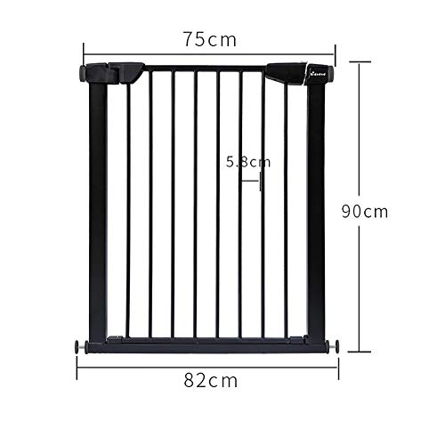 Baby safety gate Extra Tall Pet Gate, Metal Safety Gate, Pressure Mount, Black, High 90cm (Size : 117-124cm)  MMDP