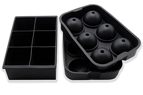 ZOLLNER24 2er Set XXL Eiswürfelform Silikon, Kugel 4,5 cm, Würfel 5x5x5 cm - Extreme Xxl Schokolade