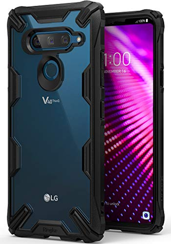 Ringke Fusion-X Kompatibel mit LG V40 ThinQ Hülle, Ergonomische Anti Cling Dot Matrix Transparent Schutzhülle Hart PC Rückseite Case TPU Bumper Cover Kratzfest Handyhülle für LG V 40 - Black Schwarz