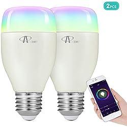 Ampoule WiFi LED, ACCEWIT Ampoule Intelligente Dimmable Multicolore, Télécommande 7W 6500K + RVB avec Dispositif Intelligent et Commande Vocale d'Amazon Alexa et Google Home - 2 Pack