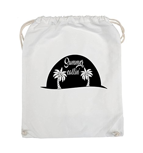 Comedy Bags - Summer callin - PALMEN - Turnbeutel - 37x46cm - Farbe: Schwarz / Pink Weiss / Schwarz