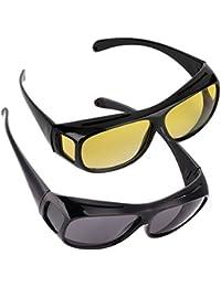 VONKY Anti Glanz Brille für Fahren 2er Set Nachtsichtbrille + Sonnenbrille UV Schutz Blendschutz Überbrille für Brillenträger