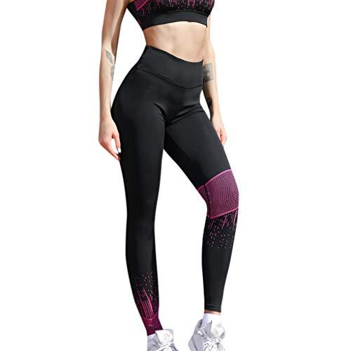 Fenverk Damen Sport Strumpfhose Leggings Fitness Yoga Joggen Pants Hose Mehrfarbig High Waist Lange Yogahose Laufhose Workout Sportleggings Hohem Bund Und Colour-Block-Design(Hot Pink,L)
