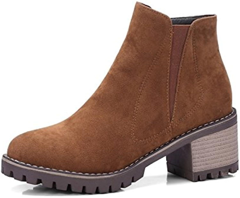 ZHZNVX HSXZ Zapatos de Mujer de Cuero de Nubuck Botas Botas de Moda Otoño Invierno Chunky Talón Puntera Redonda...