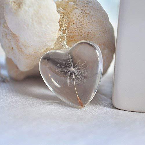 Löwenzahn Samen Wunsch Echte Blumen Groß Herz Liebe Glas 925 Sterling Silber Halsketten mit Anhänger