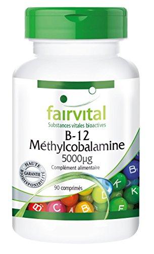 B-12 Méthylcobalamine 5000µg - 90 comprimés végétariens - Dose élevée pour les personnes qui ont besoin d'une dose supplémentaire de B-12